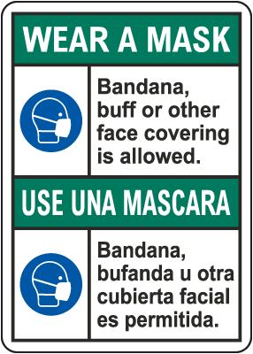 Bilingual Wear A Mask Sign