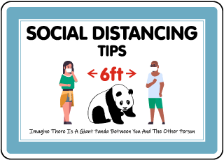 Social Distancing Tips Panda Sign
