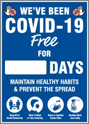 We've Been COVID-19 Free Scoreboard