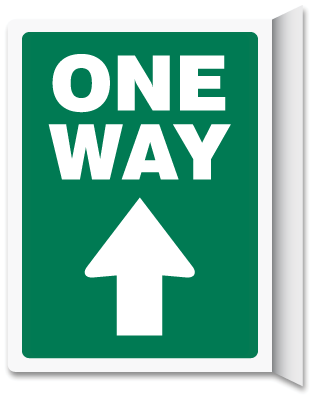 One Way Up Arrow Green Vertical Projecting Sign