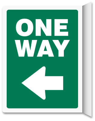One Way Left Arrow Green Vertical Projecting Sign