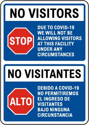 Bilingual No Visitors Due to COVID-19 Sign