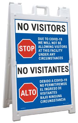 Bilingual No Visitors Due to COVID-19 Sandwich Board Sign