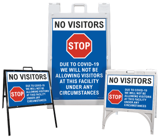 No Visitors Due to COVID-19 Sandwich Board Sign