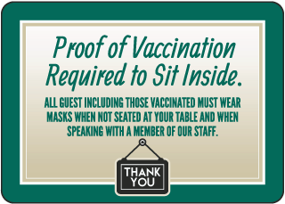 Proof of Vaccination Required to Sit Sign