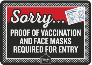 Proof of Vaccination and Face Masks Required for Entry Sign