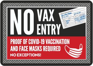 No Vax No Entry Sign