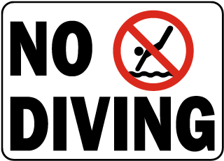 New York No Diving Sign