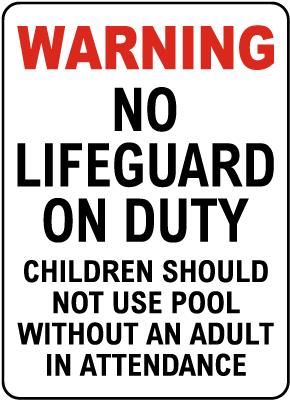Johnson County Kansas No Lifeguard Sign