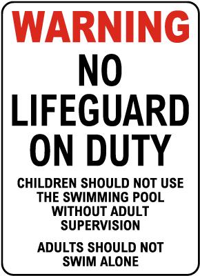 North Carolina No Lifeguard Sign