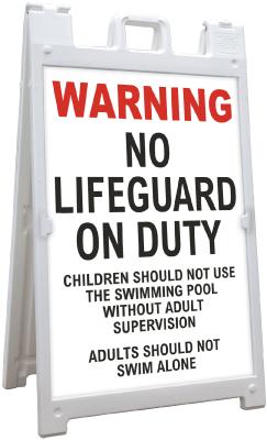 North Carolina No Lifeguard Sandwich Board