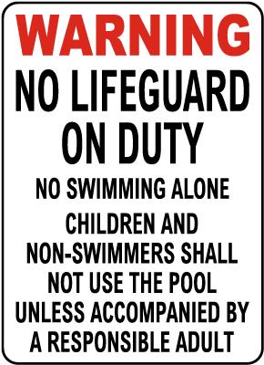 South Dakota No Lifeguard Sign