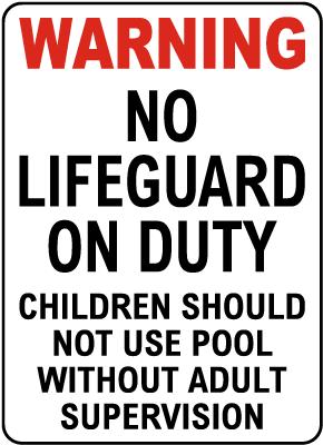 Texas No Lifeguard Sign