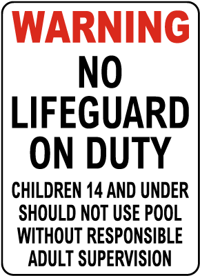 Utah No Lifeguard on Duty Sign
