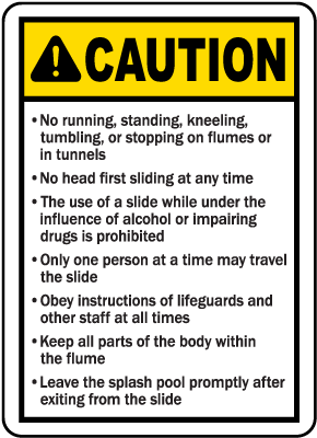 Utah Water Slide Rules Sign