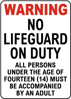 West Virginia No Lifeguard Sign