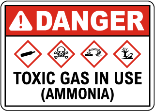 Danger Toxic Gas In Use Ammonia GHS Sign
