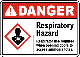 Danger Respiratory Hazard Ammonia GHS Sign
