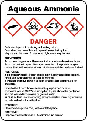 Aqueous Ammonia Prevention Response Storage Disposal GHS Sign