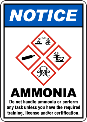 Notice Ammonia Do Not Handle GHS Sign