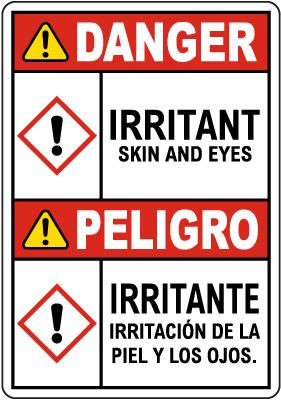 Bilingual Danger Irritant GHS Sign