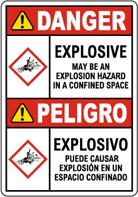 Bilingual Danger Explosive GHS Sign