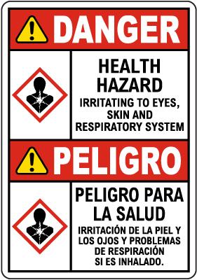 Bilingual Danger Health Hazard GHS Sign