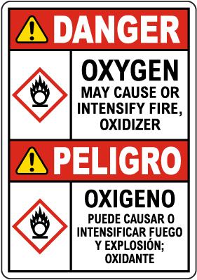 Bilingual Danger Oxygen Fire Oxidizer GHS Sign