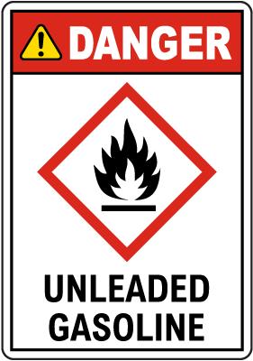 Danger Unleaded Gasoline GHS Sign