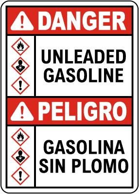 Bilingual Danger Unleaded Gasoline GHS Sign