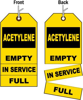 3-Part Acetylene Cylinder Status Tag