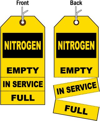 3-Part Nitrogen Cylinder Status Tag