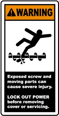 Exposed Screw & Moving Parts Label