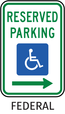 Federal Handicap Parking Sign (Right Arrow)