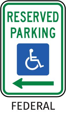 Federal Handicap Parking Sign (Left Arrow)