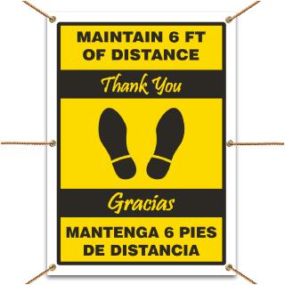 Bilingual Maintain 6 Feet Banner