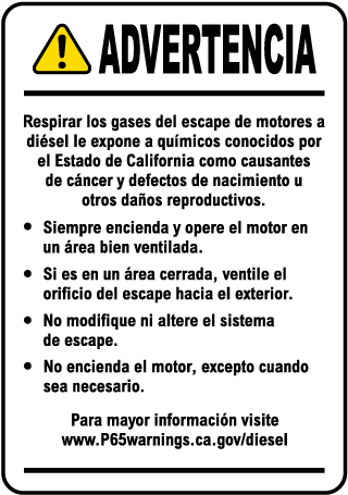 Spanish Diesel Engine Exposure Warning Label