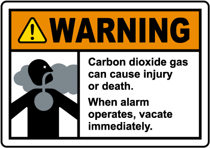 Warning Carbon Dioxide Gas Vacate Immediately Sign