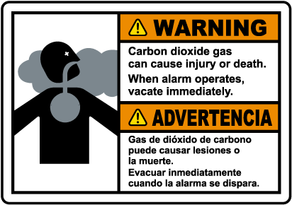 Bilingual Warning Carbon Dioxide Gas Vacate Immediately Sign