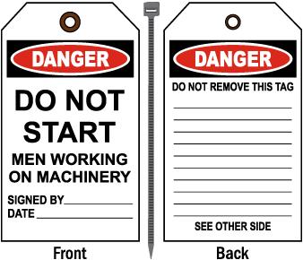 Danger Men Working on Machinery Tag