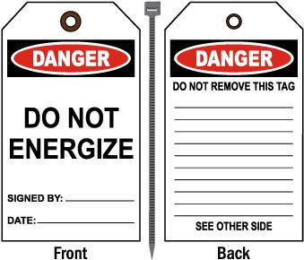 Danger Do Not Energize Tag