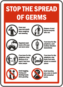 Stop The Spread of Germs Sign