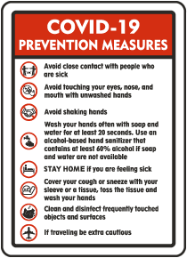 COVID-19 Prevention Measures Sign