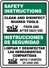 Bilingual Safety Instructions Clean Shared Tools Sign