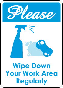 Please Wipe Down Work Area Sign