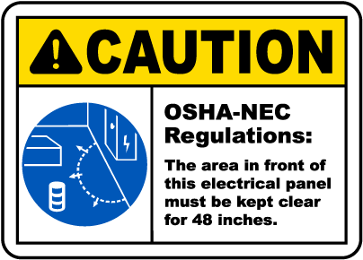 Caution Panel Must Be Clear For 48 Inches Label
