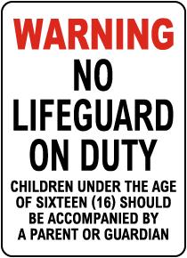 Delaware No Lifeguard Sign