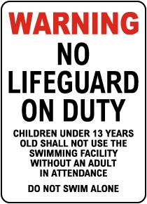Idaho No Lifeguard Sign