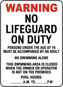 New Jersey No Lifeguard Hotel Sign