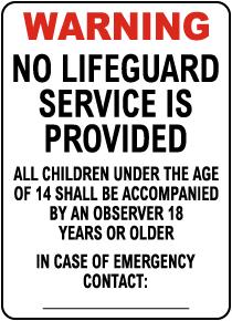 New Mexico No Lifeguard Sign